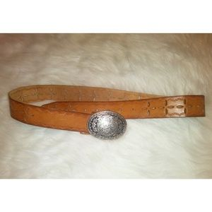 Genuine Leather Belt W/Floral Buckle
